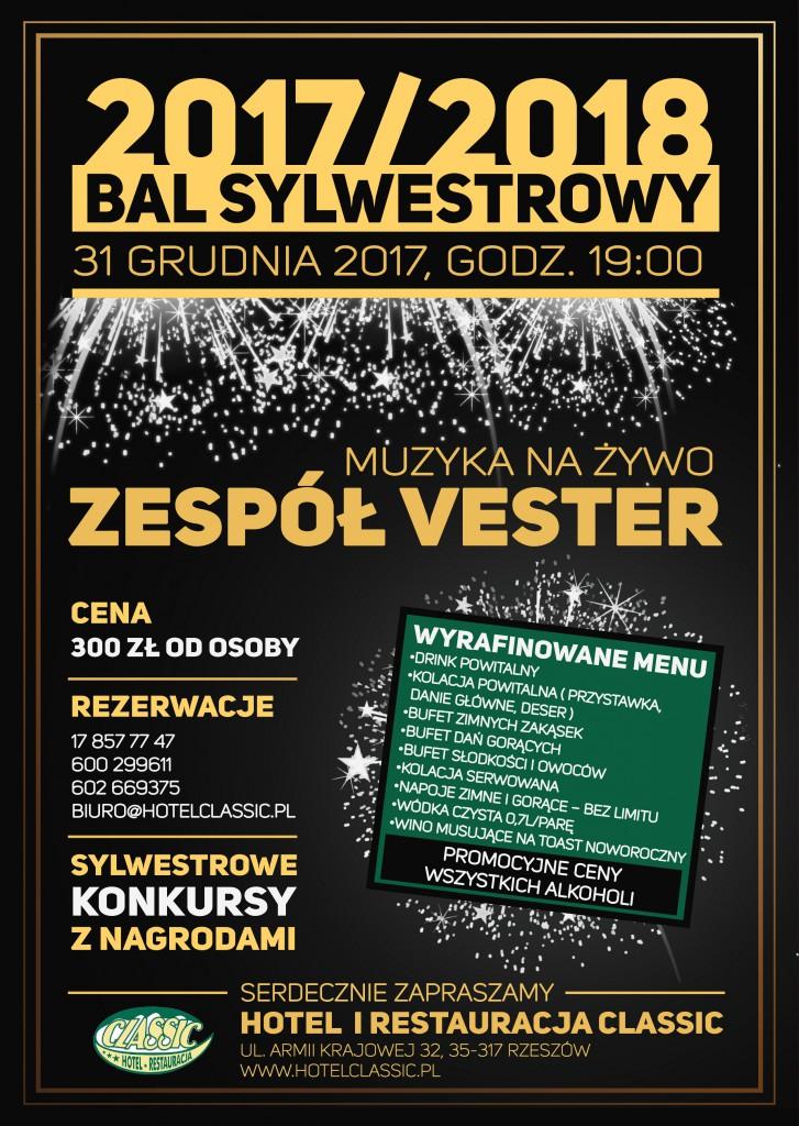 Sylwester 2017-2018 - Restauracja Classic Rzeszów